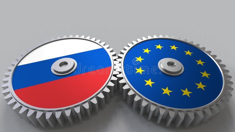 Bandeiras de Rússia e da União Europeia nas engrenagens de engrenagem Rendição 3D conceptual da cooperação internacional ilustração stock