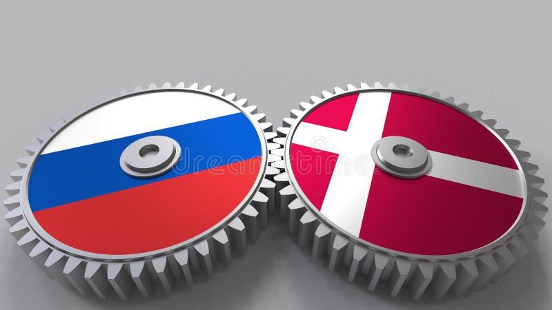 Bandeiras de Rússia e de Dinamarca nas engrenagens de engrenagem Rendição 3D conceptual da cooperação internacional ilustração royalty free