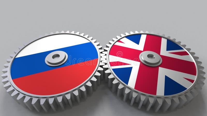 Bandeiras de Rússia e do Reino Unido nas engrenagens de engrenagem Rendição 3D conceptual da cooperação internacional ilustração royalty free