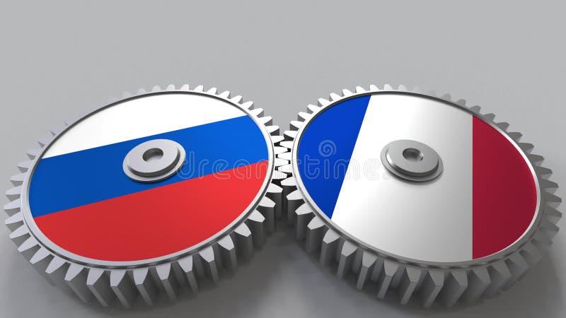 Bandeiras de Rússia e de França nas engrenagens de engrenagem Rendição 3D conceptual da cooperação internacional ilustração royalty free