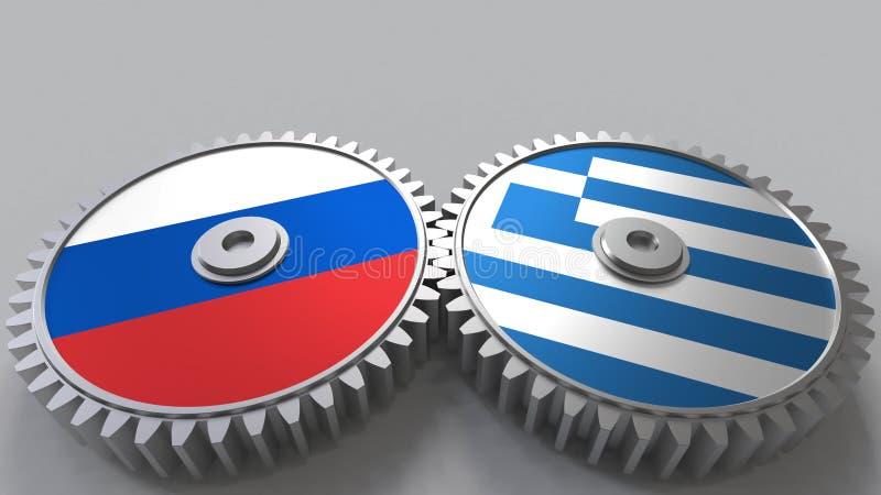 Bandeiras de Rússia e de Grécia nas engrenagens de engrenagem Rendição 3D conceptual da cooperação internacional ilustração stock