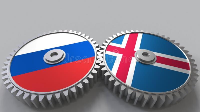 Bandeiras de Rússia e de Islândia nas engrenagens de engrenagem Rendição 3D conceptual da cooperação internacional ilustração royalty free