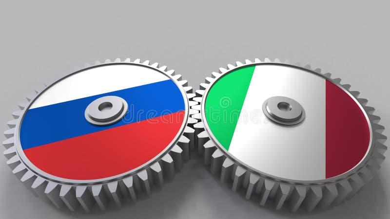 Bandeiras de Rússia e de Itália nas engrenagens de engrenagem Rendição 3D conceptual da cooperação internacional ilustração do vetor