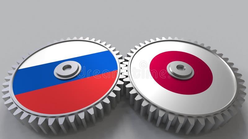 Bandeiras de Rússia e de Japão nas engrenagens de engrenagem Rendição 3D conceptual da cooperação internacional ilustração royalty free