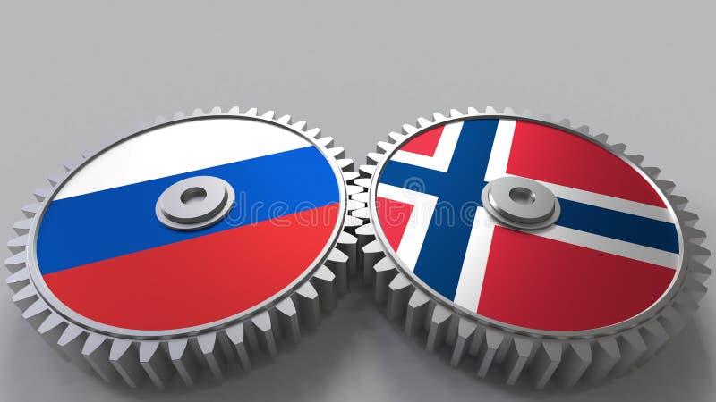 Bandeiras de Rússia e de Noruega nas engrenagens de engrenagem Rendição 3D conceptual da cooperação internacional ilustração do vetor