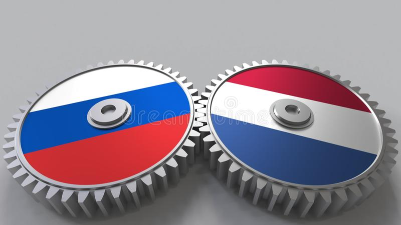 Bandeiras de Rússia e de Países Baixos nas engrenagens de engrenagem Rendição 3D conceptual da cooperação internacional ilustração stock