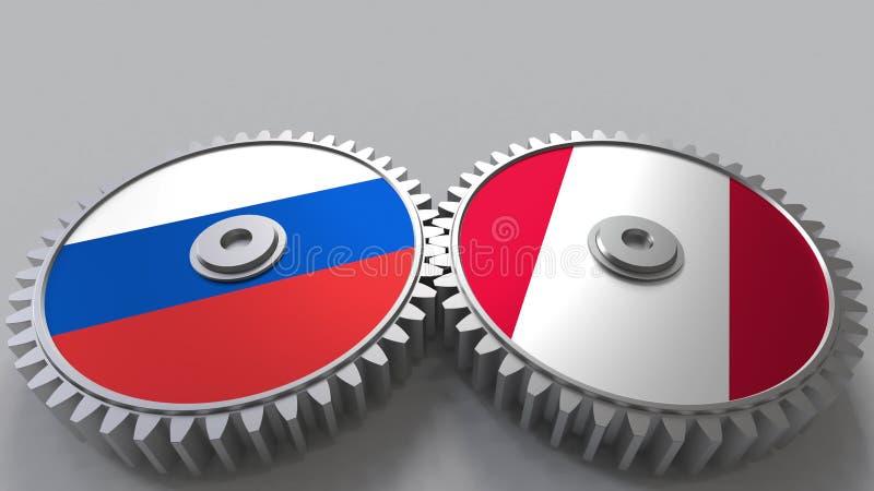 Bandeiras de Rússia e de Peru nas engrenagens de engrenagem Rendição 3D conceptual da cooperação internacional ilustração stock