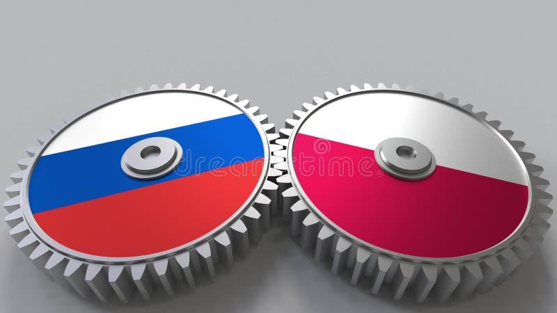 Bandeiras de Rússia e de Polônia nas engrenagens de engrenagem Rendição 3D conceptual da cooperação internacional ilustração stock