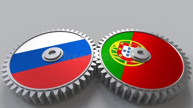 Bandeiras de Rússia e de Portugal nas engrenagens de engrenagem Rendição 3D conceptual da cooperação internacional ilustração stock