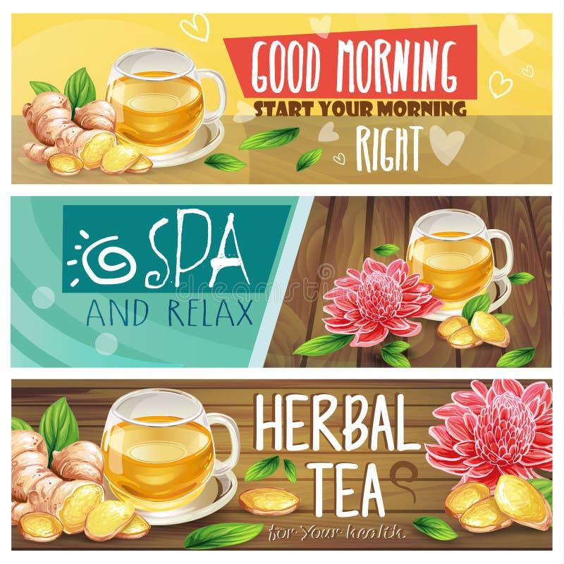 Bandeiras de relaxamento da tisana da manhã ajustadas ilustração stock