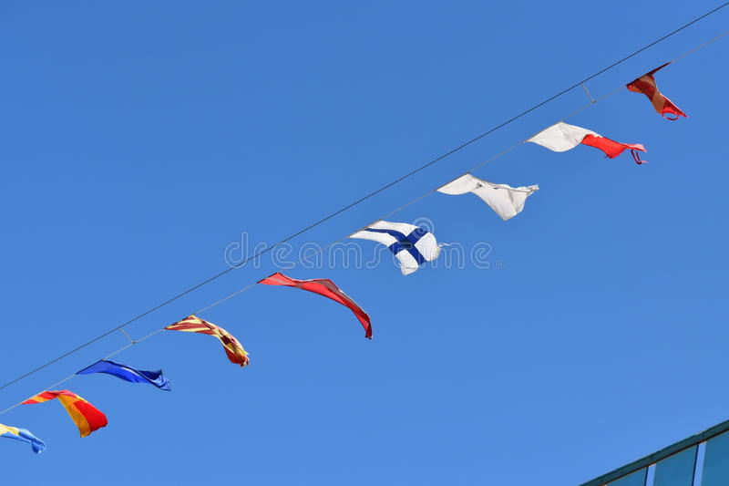 Bandeiras de sinal marítimas fotografia de stock