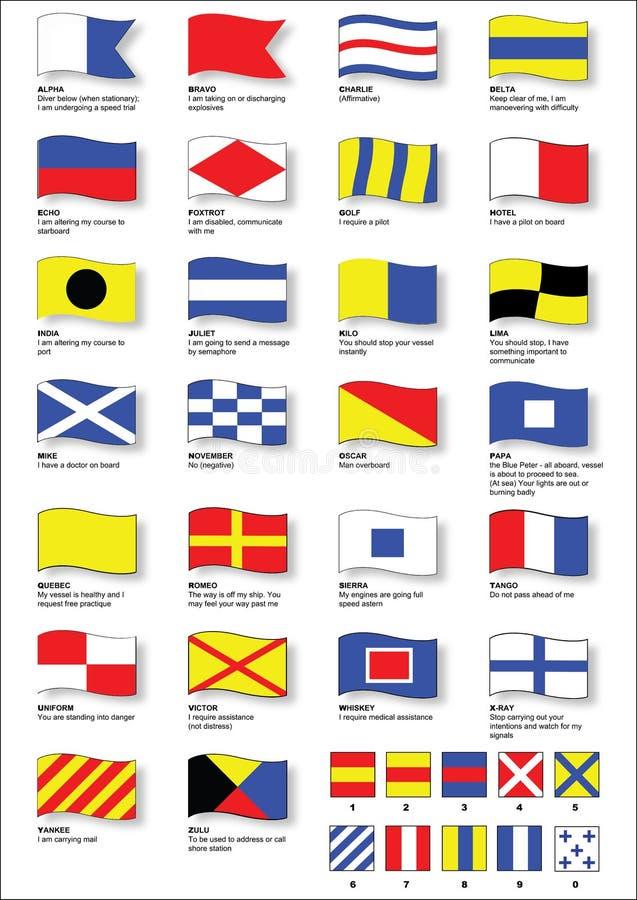 Bandeiras de sinal marítimas com alfabeto fonético ilustração stock