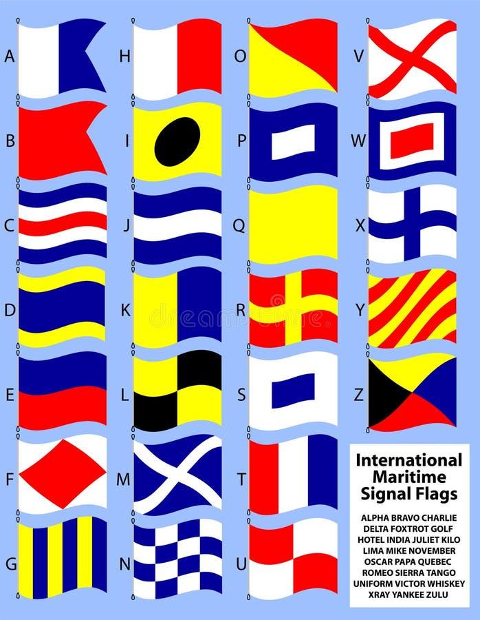 Bandeiras de sinal marítimas internacionais ilustração stock