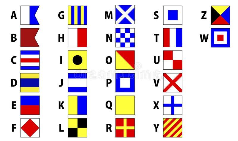 Bandeiras de sinal marítimas internacionais ilustração do vetor