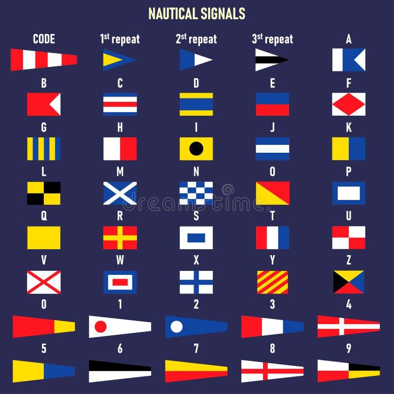 Bandeiras de sinal mar?timas internacionais Letras e n?meros ilustração do vetor