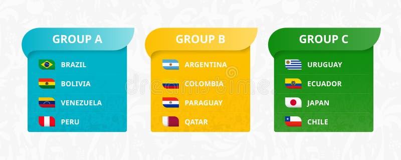 Bandeiras de sul - países, Japão americano e Catar classificados por grupos ilustração do vetor