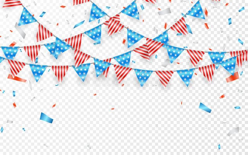Bandeiras de suspensão da estamenha por feriados americanos Confetes azuis, brancos e vermelhos da folha Ilustração do vetor ilustração do vetor
