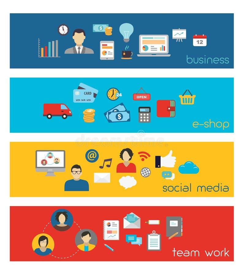 Bandeiras de Team Work e do negócio ilustração royalty free