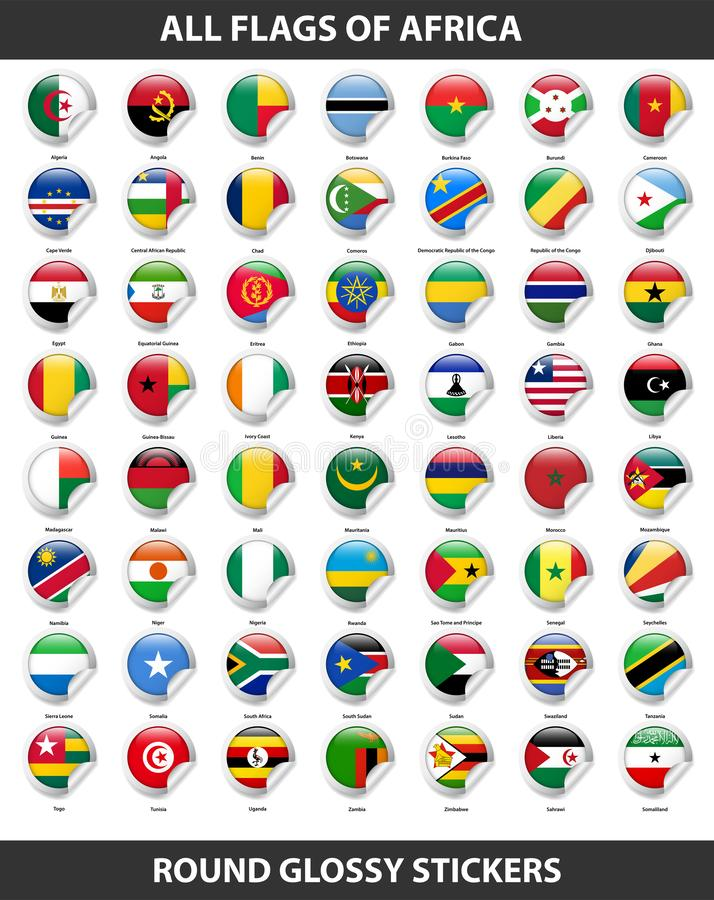 Bandeiras de todos os países de África Etiquetas lustrosas redondas ilustração royalty free