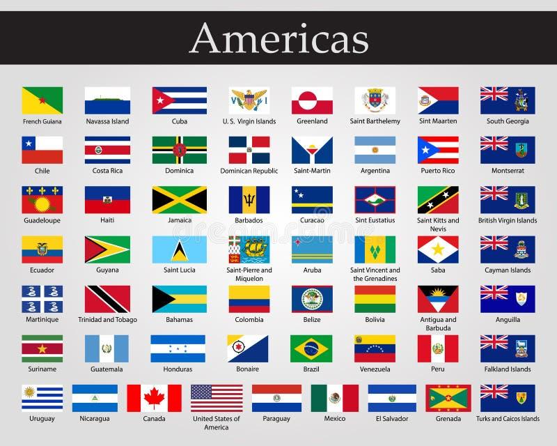 Bandeiras de todos os pa?ses dos continentes americanos ilustração do vetor