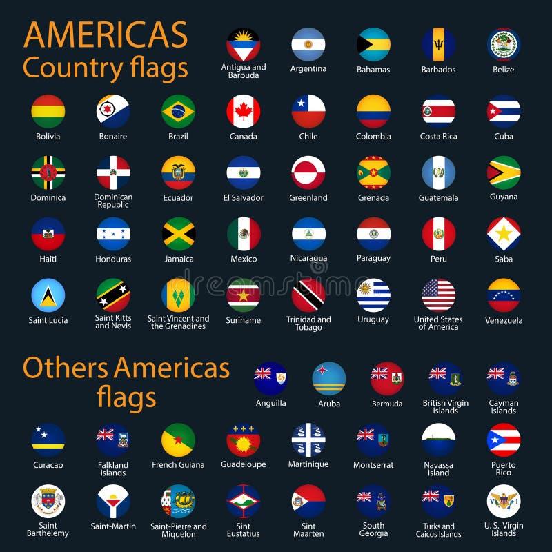 Bandeiras de todos os pa?ses dos continentes americanos ilustração stock