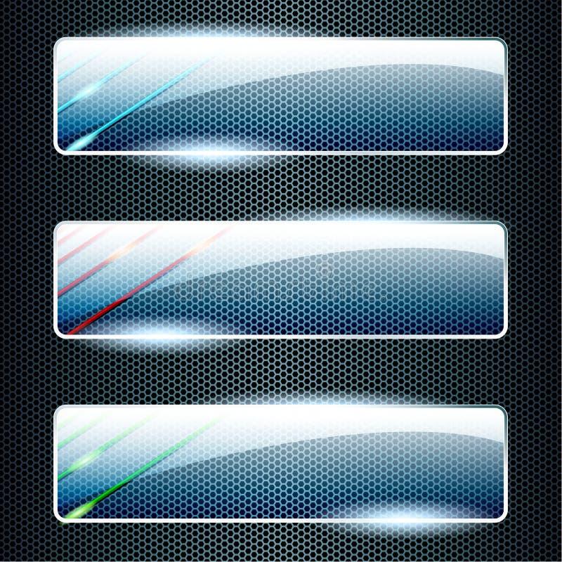 Bandeiras de vidro transparentes com elementos de cor ilustração royalty free