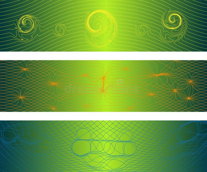 Bandeiras distorcidas das ondas ilustração stock