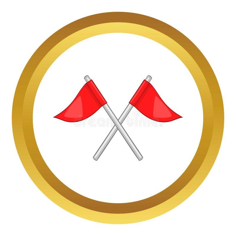 Bandeiras do ícone do campo de golfe ilustração stock