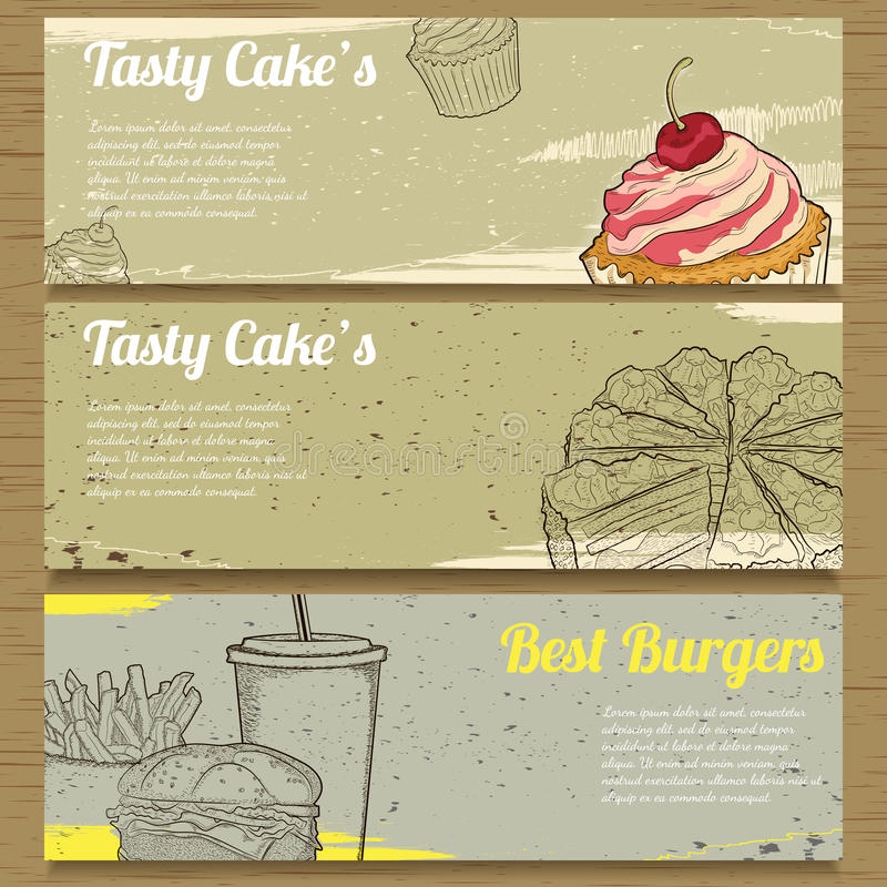 3 bandeiras do alimento para anunciar Ilustração do vetor ilustração do vetor