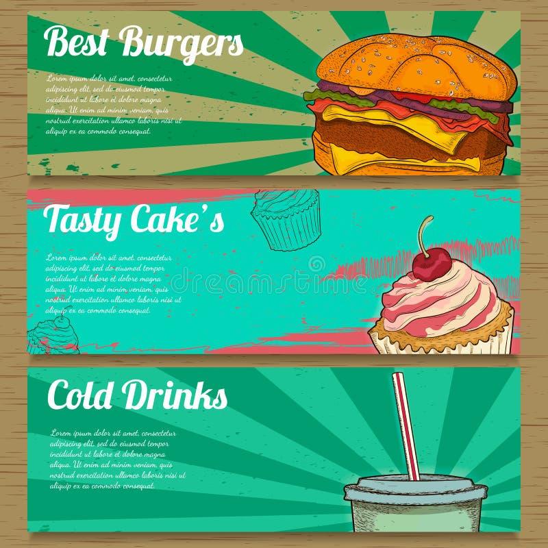 3 bandeiras do alimento para anunciar Ilustração do vetor ilustração royalty free