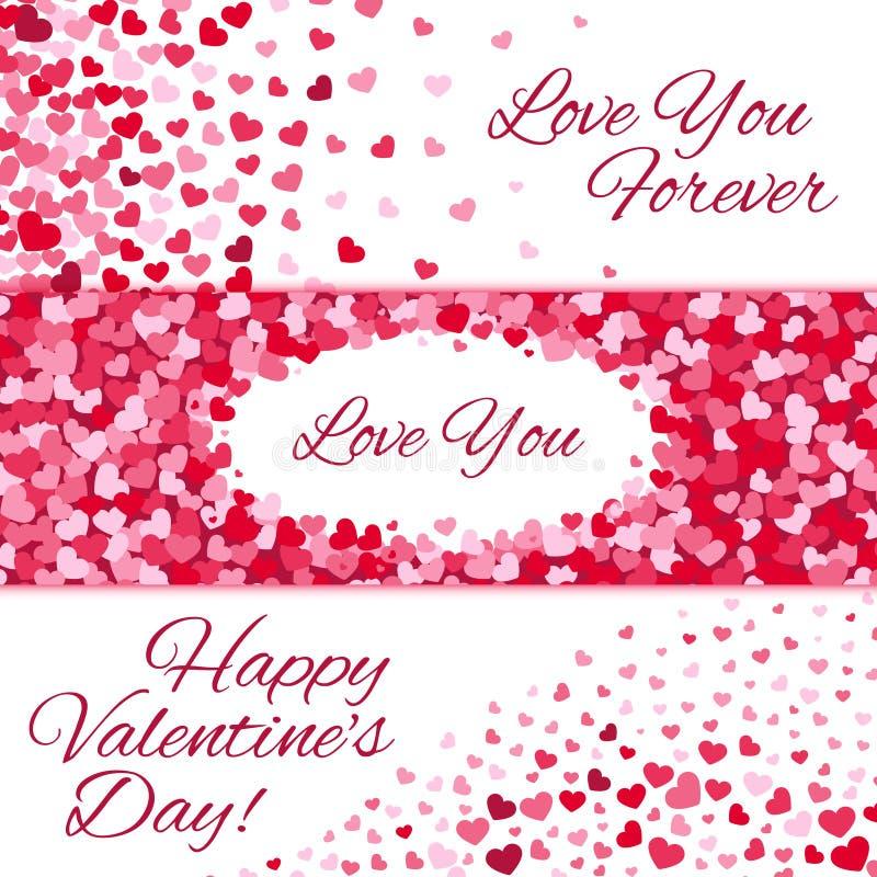 Bandeiras do amor do vetor da venda do dia de Valentim com corações ilustração royalty free