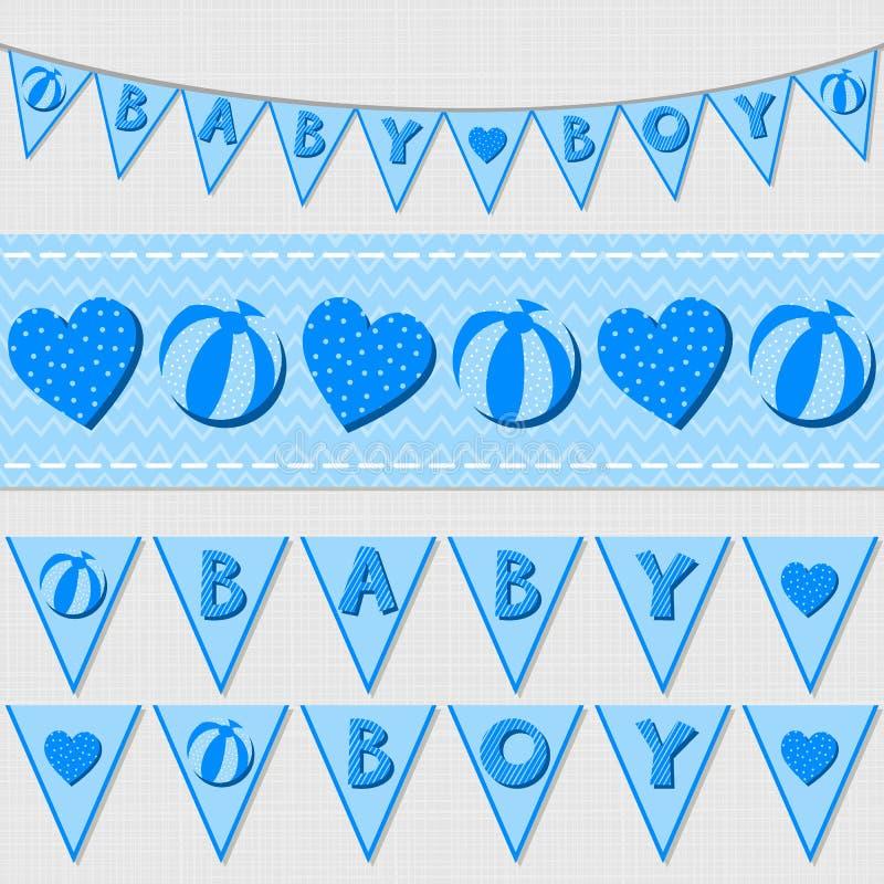 Bandeiras do bebê e grupo azuis da estamenha da fita ilustração stock
