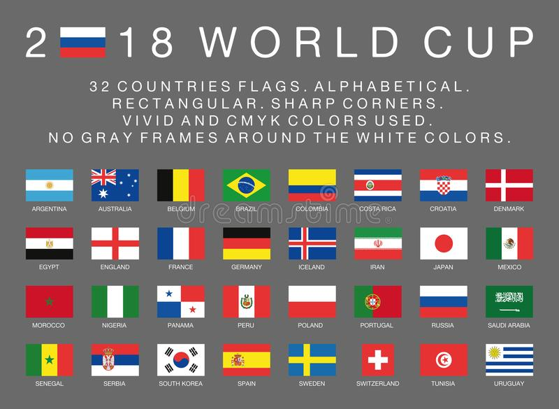 Bandeiras do campeonato do mundo 2018 do Fifa de 32 países ilustração stock