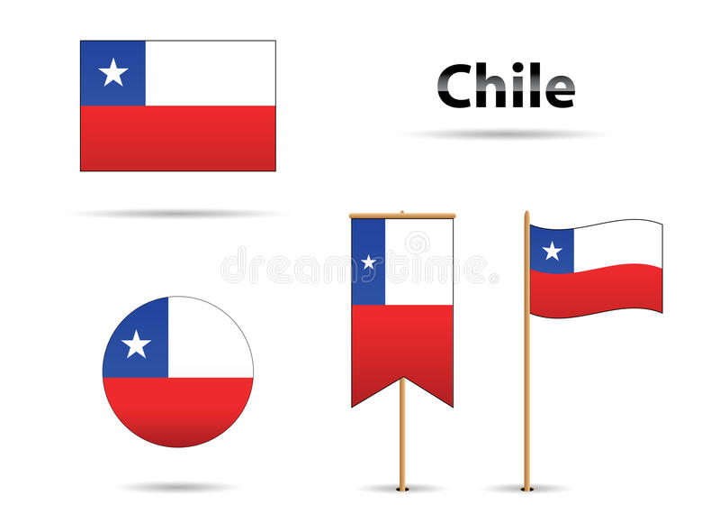 Bandeiras do Chile ilustração stock