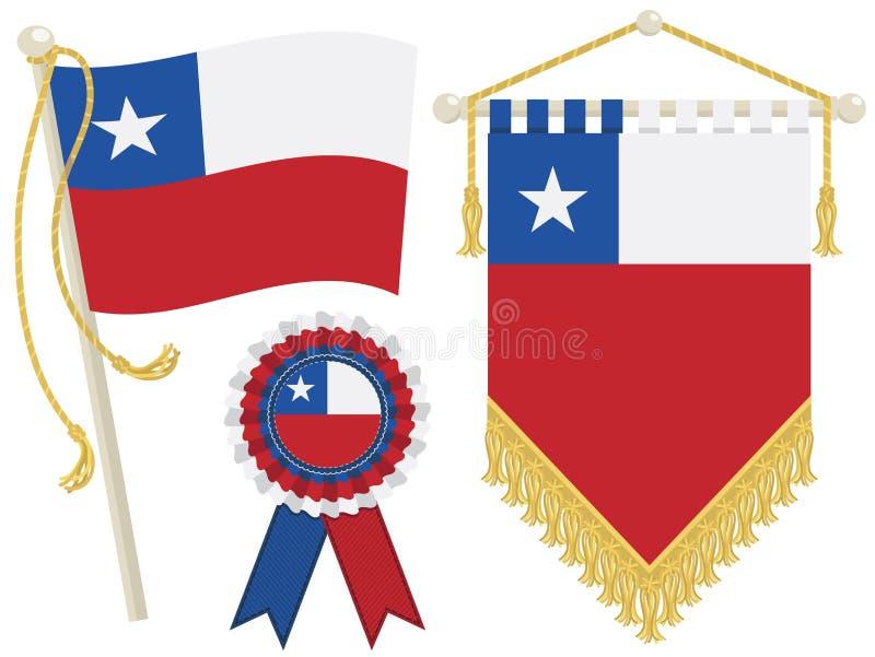 Bandeiras do Chile ilustração royalty free