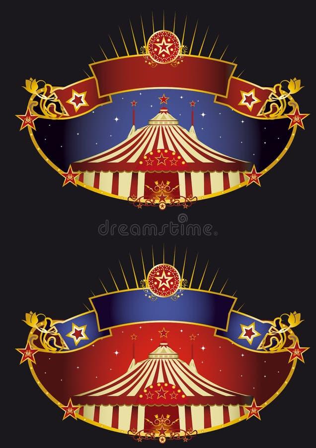 Bandeiras do circo da noite ilustração do vetor