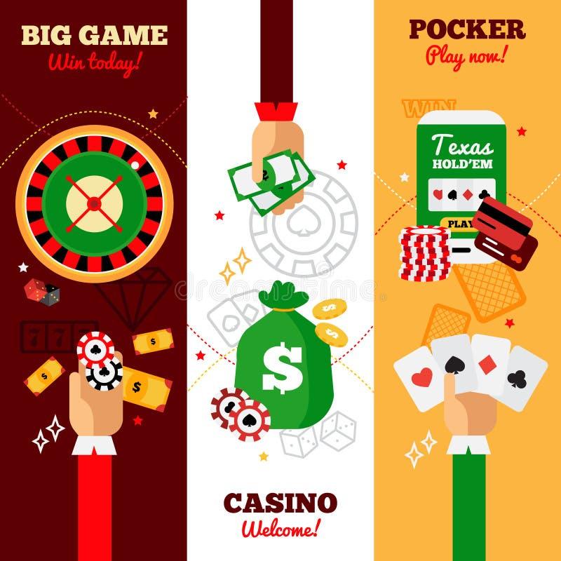 Bandeiras do conceito de projeto do casino ilustração royalty free