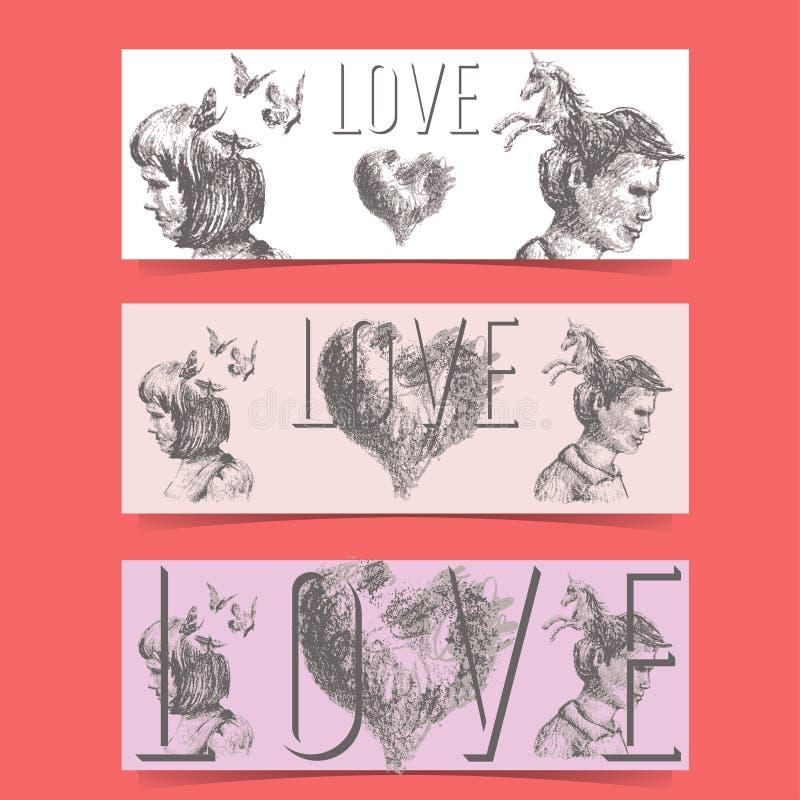 Bandeiras do conceito do amor ilustração stock