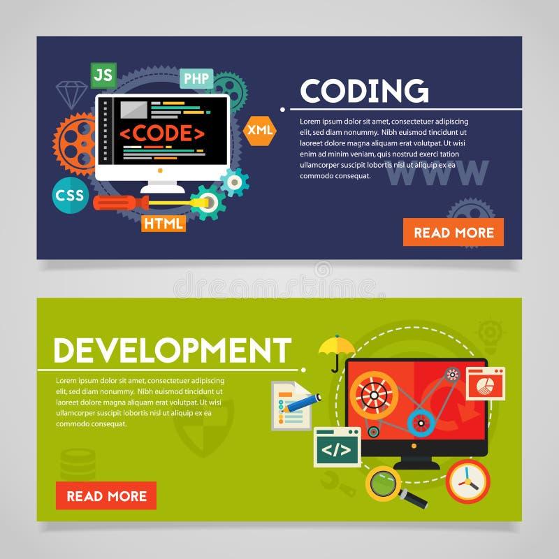 Bandeiras do conceito do desenvolvimento e da codificação ilustração royalty free