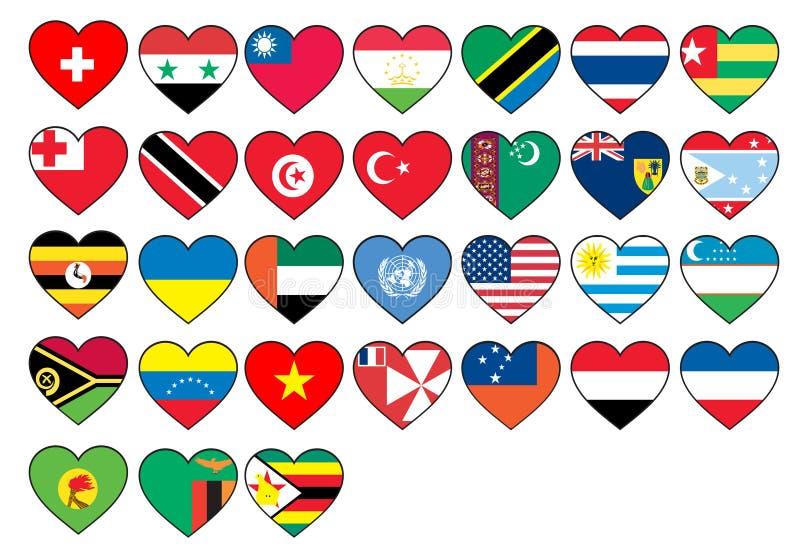 Bandeiras do coração ajustadas ilustração royalty free
