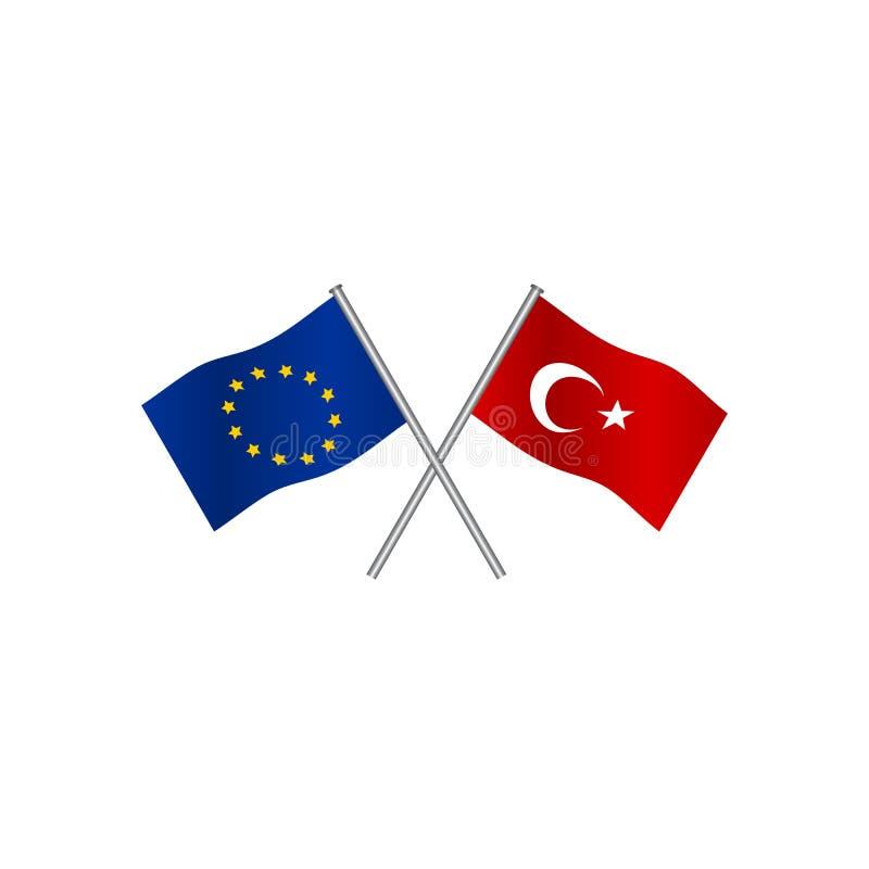 Bandeiras do cruzamento da união de Europa e da Turquia, candidato à entrada na UE Conceito da cooperação entre os dois países ilustração royalty free