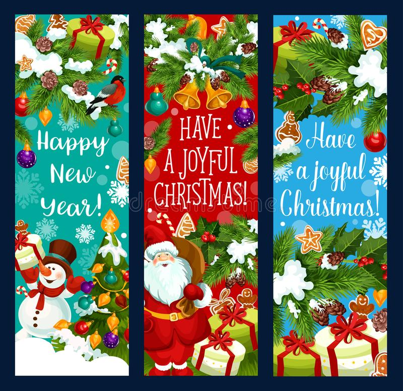 Bandeiras do cumprimento do vetor do ano novo do Feliz Natal ilustração do vetor