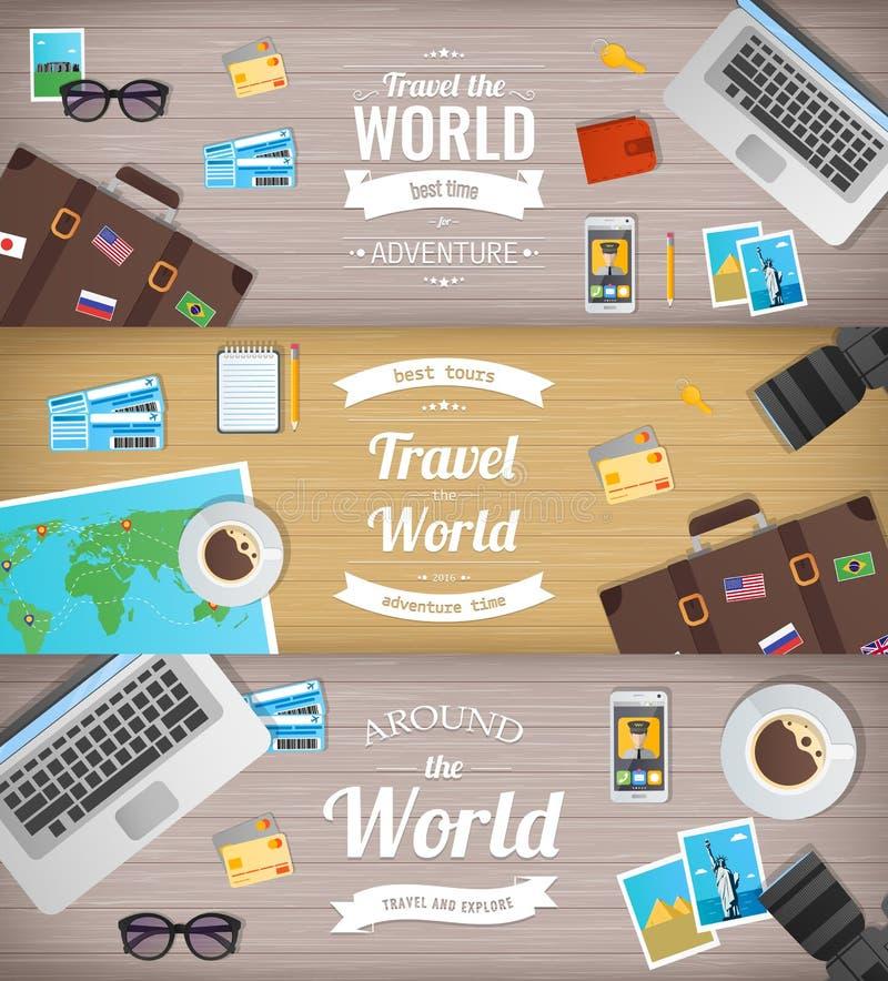 Bandeiras do curso Curso e turismo Bandeira do Web Objetos no fundo de madeira Projeto liso Vetor ilustração do vetor