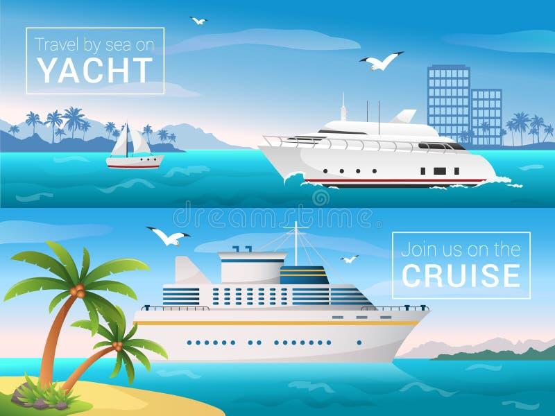 Bandeiras do curso do vetor ajustadas Yacht na baía forro do cruzeiro da ilha tropical, mar do oceano nas ilhas ilustração do vetor
