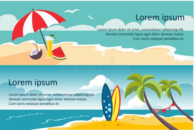 Bandeiras do curso do verão, Sandy Beach, guarda-chuva, ondas do mar ou de oceano, palmas e ilustração horizontais do vetor da pl ilustração royalty free
