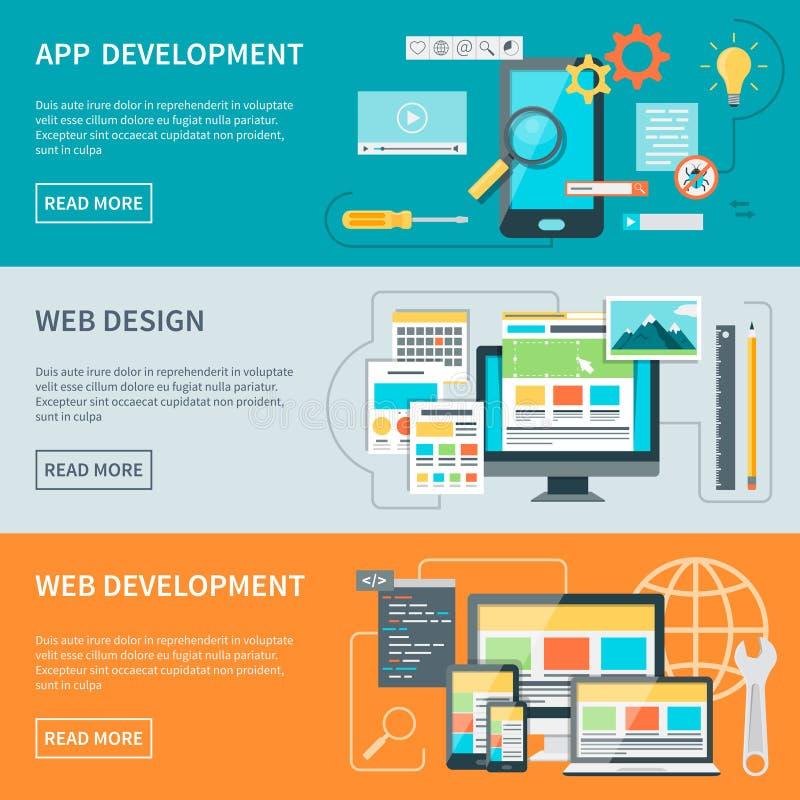 Bandeiras do desenvolvimento do Web site ilustração stock