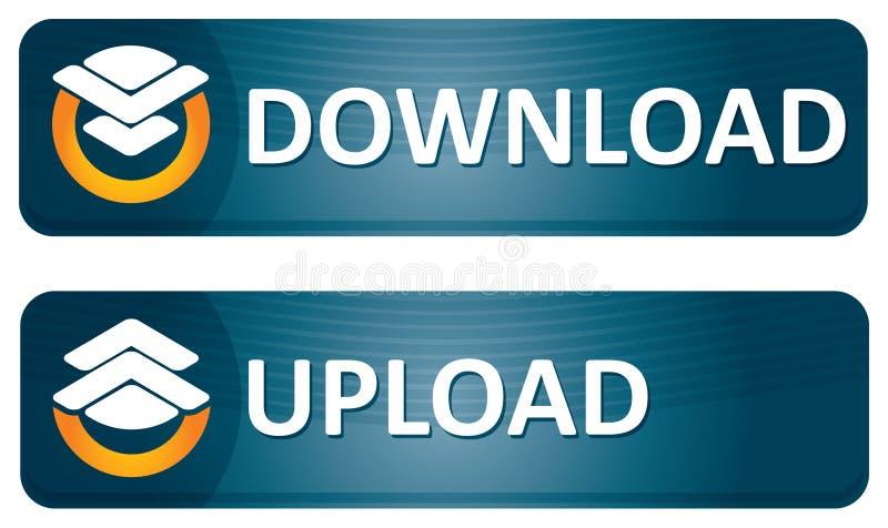 Bandeiras do Download e da transferência de arquivo pela rede ilustração do vetor