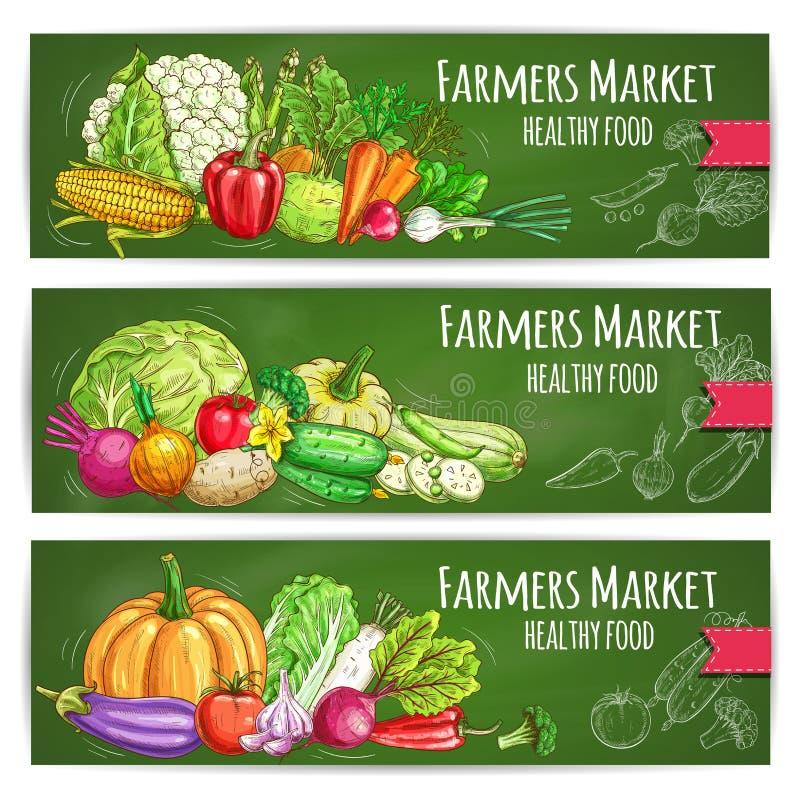 Bandeiras do esboço do vetor dos vegetais da exploração agrícola ajustadas ilustração stock