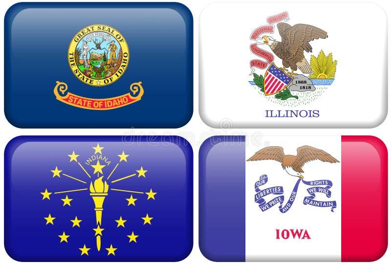 Bandeiras do estado: Idaho, Illinois, Indiana, Iowa ilustração royalty free