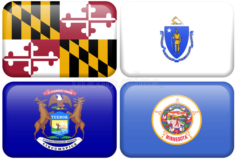 Bandeiras do estado: Maryland, Massachusetts, Michigan, manganês ilustração do vetor